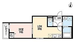 THE HOUSE 与野本町 Blanc 2階1LDKの間取り