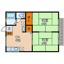 滋賀県米原市高溝の賃貸アパートの間取り
