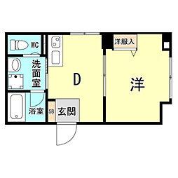 神戸市海岸線 ハーバーランド駅 徒歩10分の賃貸マンション 1階1DKの間取り