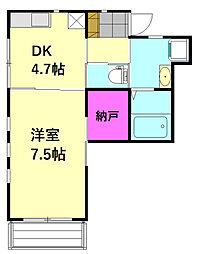 埼玉新都市交通 原市駅 徒歩3分の賃貸アパート 2階1DKの間取り