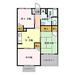 パレス土方[2階]の間取り
