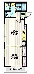 東急大井町線 戸越公園駅 徒歩8分の賃貸マンション 2階1LDKの間取り