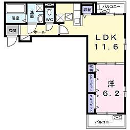 名古屋市営東山線 藤が丘駅 徒歩28分の賃貸アパート 1階1LDKの間取り