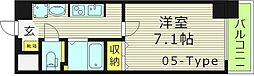 おおさか東線 JR野江駅 徒歩4分の賃貸マンション 2階1Kの間取り