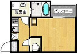西鉄天神大牟田線 西鉄平尾駅 徒歩8分の賃貸アパート 1階ワンルームの間取り