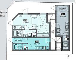 梅ヶ丘ハウス 1階ワンルームの間取り