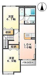 埼玉県川口市大字東貝塚の賃貸アパートの間取り