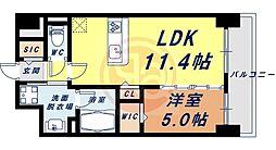 Osaka Metro四つ橋線 花園町駅 徒歩13分の賃貸マンション 6階1LDKの間取り