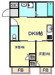 Cleat西二見 1階ワンルームの間取り