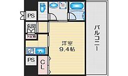 ハーヴェスタ江坂 6階1Kの間取り