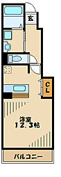 京王相模原線 多摩境駅 徒歩4分の賃貸アパート 1階1Kの間取り