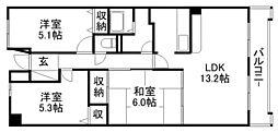 ツインオークス[3階]の間取り