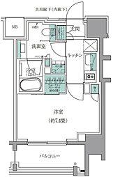 ザ・パークハウスアーバンス白金 6階1Kの間取り