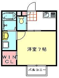 C・M-WEST 2階1Kの間取り