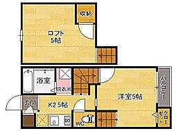 福岡県福岡市博多区吉塚本町の賃貸アパートの間取り