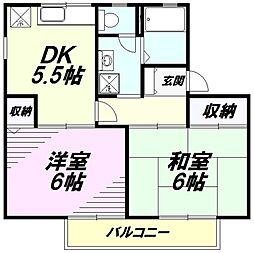 東京都八王子市散田町5丁目の賃貸アパートの間取り