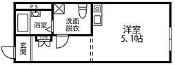 Miisa HOSHIKAWA 2階ワンルームの間取り