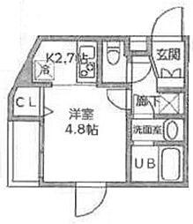 王子本町YKマンションIII 4階1Kの間取り