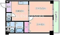 フォレスタ本庄 5階2DKの間取り