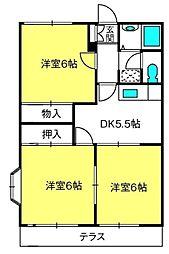 三橋グランハイム富士[A203号室]の間取り
