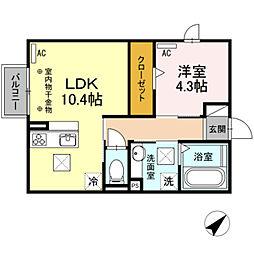 JR東海道本線 豊橋駅 バス13分 境田下車 徒歩3分の賃貸アパート 1階1LDKの間取り