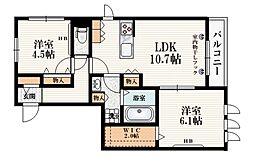 有邦ハウス 2階2LDKの間取り