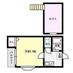 福岡県福岡市博多区住吉3丁目の賃貸アパートの間取り