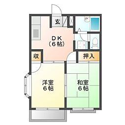 愛知県豊橋市山田一番町の賃貸アパートの間取り