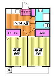 本町岡部マンション A棟[2階]の間取り