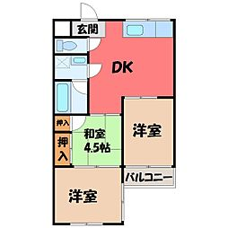 栃木県宇都宮市桜5丁目の賃貸マンションの間取り