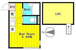 JR南武線 中野島駅 徒歩13分の賃貸アパート 1階ワンルームの間取り