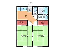 千葉県松戸市新松戸南1丁目の賃貸アパートの間取り