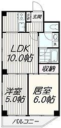 JR山手線 目黒駅 徒歩10分の賃貸マンション 5階2LDKの間取り