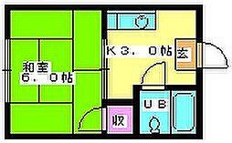 石坂コーポ 1階1Kの間取り