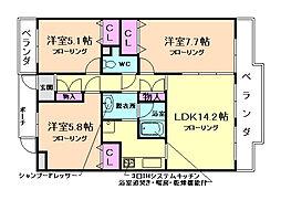 大阪府豊中市永楽荘1丁目の賃貸マンションの間取り