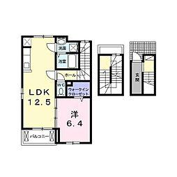 多摩都市モノレール 多摩センター駅 徒歩25分の賃貸アパート 3階1LDKの間取り