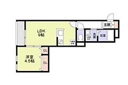 (仮)KIRANA 1階1LDKの間取り