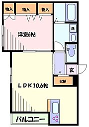 東急東横線 新丸子駅 徒歩5分の賃貸マンション 3階1LDKの間取り
