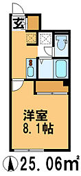 JR常磐線 天王台駅 徒歩20分の賃貸アパート 2階1Kの間取り