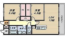 大阪府堺市西区浜寺船尾町東3丁の賃貸アパートの間取り