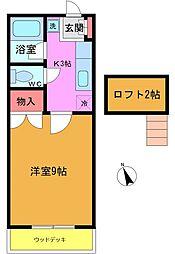 千葉県市川市河原の賃貸アパートの間取り