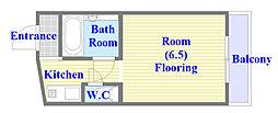 サンライフ布施 3階ワンルームの間取り