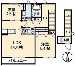 エスポワールサン A[2階]の間取り