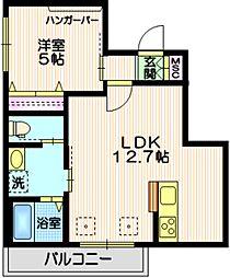東急目黒線 大岡山駅 徒歩10分の賃貸マンション 3階1LDKの間取り