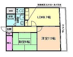 阪神ハイグレードマンション3番館[2階]の間取り