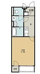 クレイノKEEP NEXT V 57672 2階ワンルームの間取り