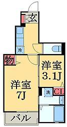 JR総武本線 東千葉駅 徒歩13分の賃貸アパート 1階1SKの間取り