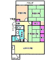 大阪府枚方市東山2丁目の賃貸マンションの間取り