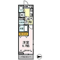 JR五日市線 秋川駅 徒歩8分の賃貸アパート 3階1Kの間取り