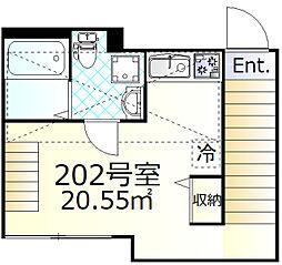 メゾンドオーブ 2階ワンルームの間取り